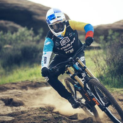 Marcelo Gutierrez, an eight-time DH national champion in his home nation of Colombia, is pictured here on his 2019 Giant Glory race bike. Gutierrez already has two race wins in 2019 and is again focused on major downhill races around the world including the UCI World Cup series. Cameron Baird photo.