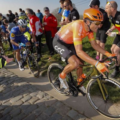 Riding his special TCR Advanced SL Gold bike with pre-production #overachieve wheels, Van Avermaet looked strong at back-to-back cobblestone races in Belgium. Cor Vos photo.
