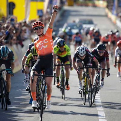 Marianne Vos sprints to victory aboard her Langma Advanced SL. Cor Vos Photo.