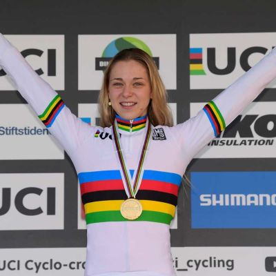 CCC-Liv's Inge van der Heijden (age 19) wears the rainbow jersey after the biggest win of her career. Cor Vos Photo.