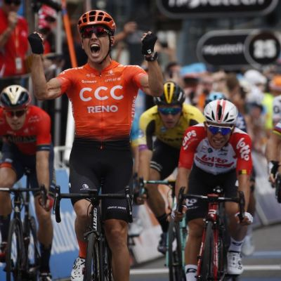 Bevin outsprinted Caleb Ewan and Peter Sagan to score his first ever WorldTour win. Cor Vos photo.