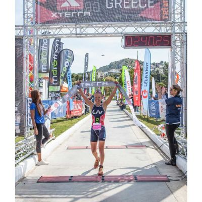 Lesley Paterson wins Xterra Greece, crossing the finish with a time of 02:40:26. Photo courtesy XTERRA/ 641 Photography.