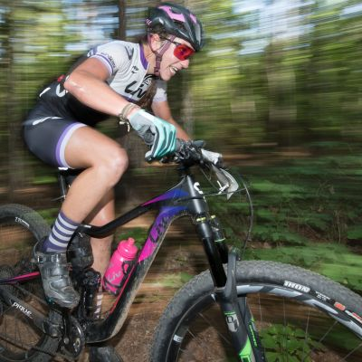Kaysee Armstrong raced her Pique Advanced team bike to second place at US Marathon Mountain Bike Nationals. Weldon Weaver photo.
