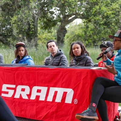 "Liv Racing athlete Ayesha McGowan moderated the ""A Seat at the Table"" diversity panel, co-hosted by Liv Cycling and SRAM. Jeff Clark Photo."