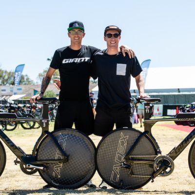Van Berkel (left) and Appleton both rode their Trinity Advanced Pro bikes with CADEX Aero WheelSystems. Korupt Vision photo