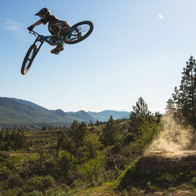 Reece Wallace sending it high at Kamloops Bike Trails, British Columbia, Canada