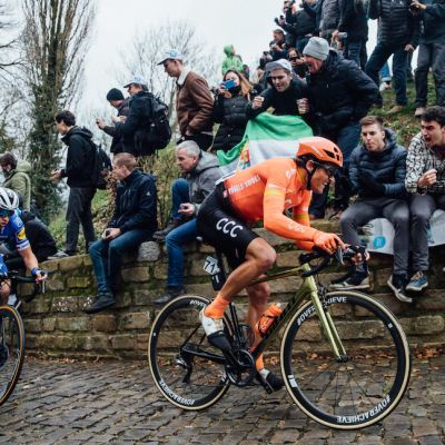 Racing on his special TCR Advanced SL Gold bike and a prototype WheelSystem labeled #overachieve, Van Avermaet proved one of the strongest on the cobbles. Chris Auld photo.