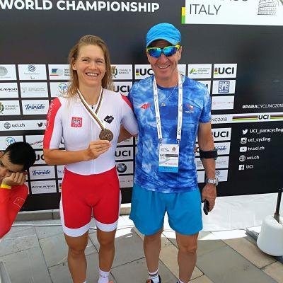 Anna Harkowska z trenerem, Marianem Kowalskim