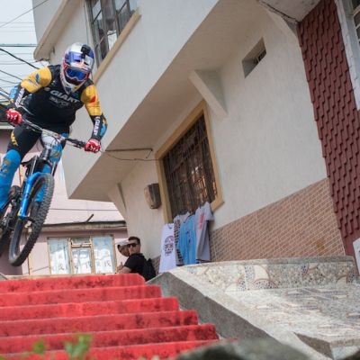 No one can match Gutierrez's speed and skills on the unique Manizales Urban DH terrain.