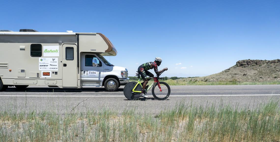 Rahsaan Bahati racing through the flats in the 2021 Race Across America on his Trinity Advanced Pro bike.