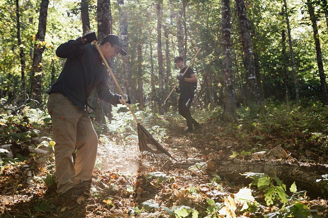 Adam working on trails