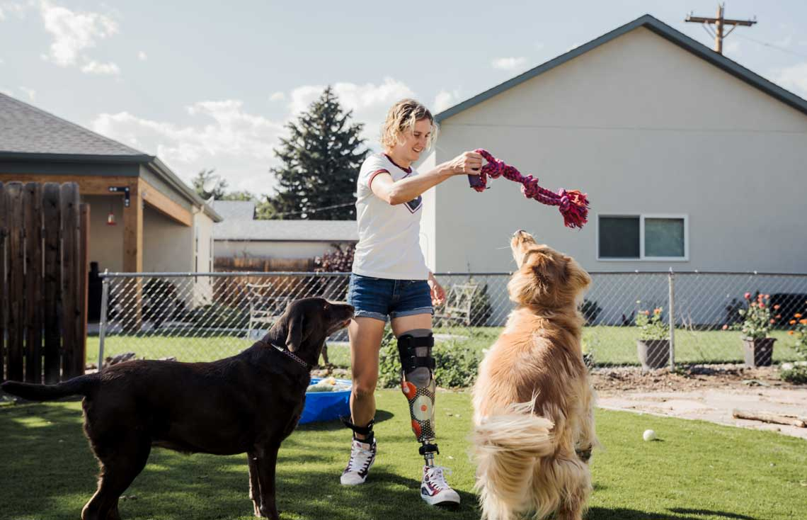 Allysa Seely with her dogs at home