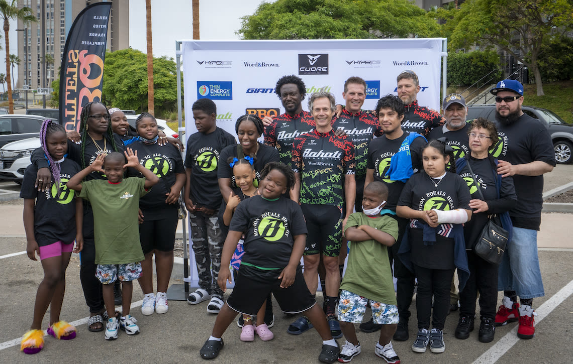 Team Thin Energy riders met up with the families and kids they were riding for at the start of the 2021 Race Across America.