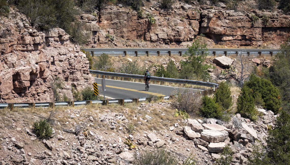 Team Thin Energy racing through the mountains at the 2021 Race Across America