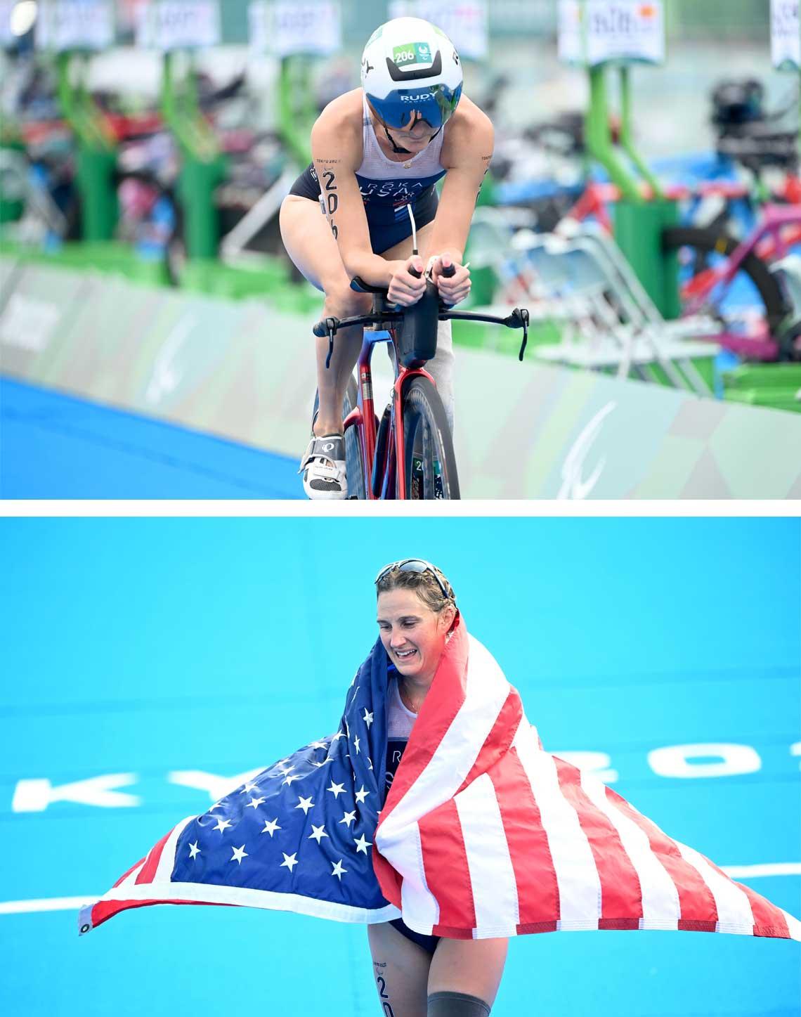 Allysa Seely winning Tokyo Paralympic Triathlon