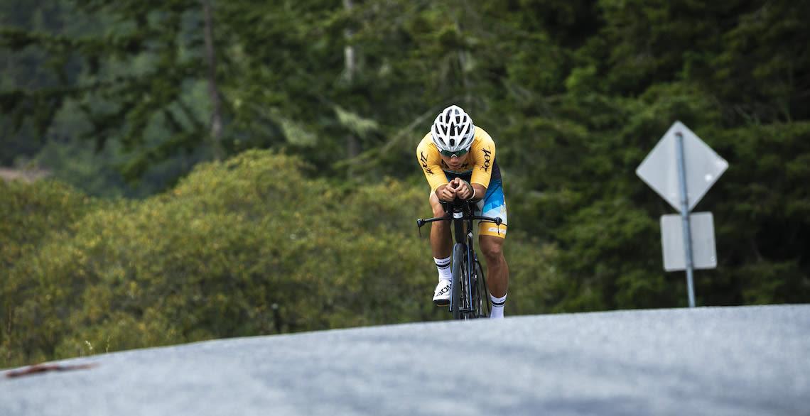 Giant triathlete Yu Hsiao training on his Trinity Advanced Pro bike near his home in California
