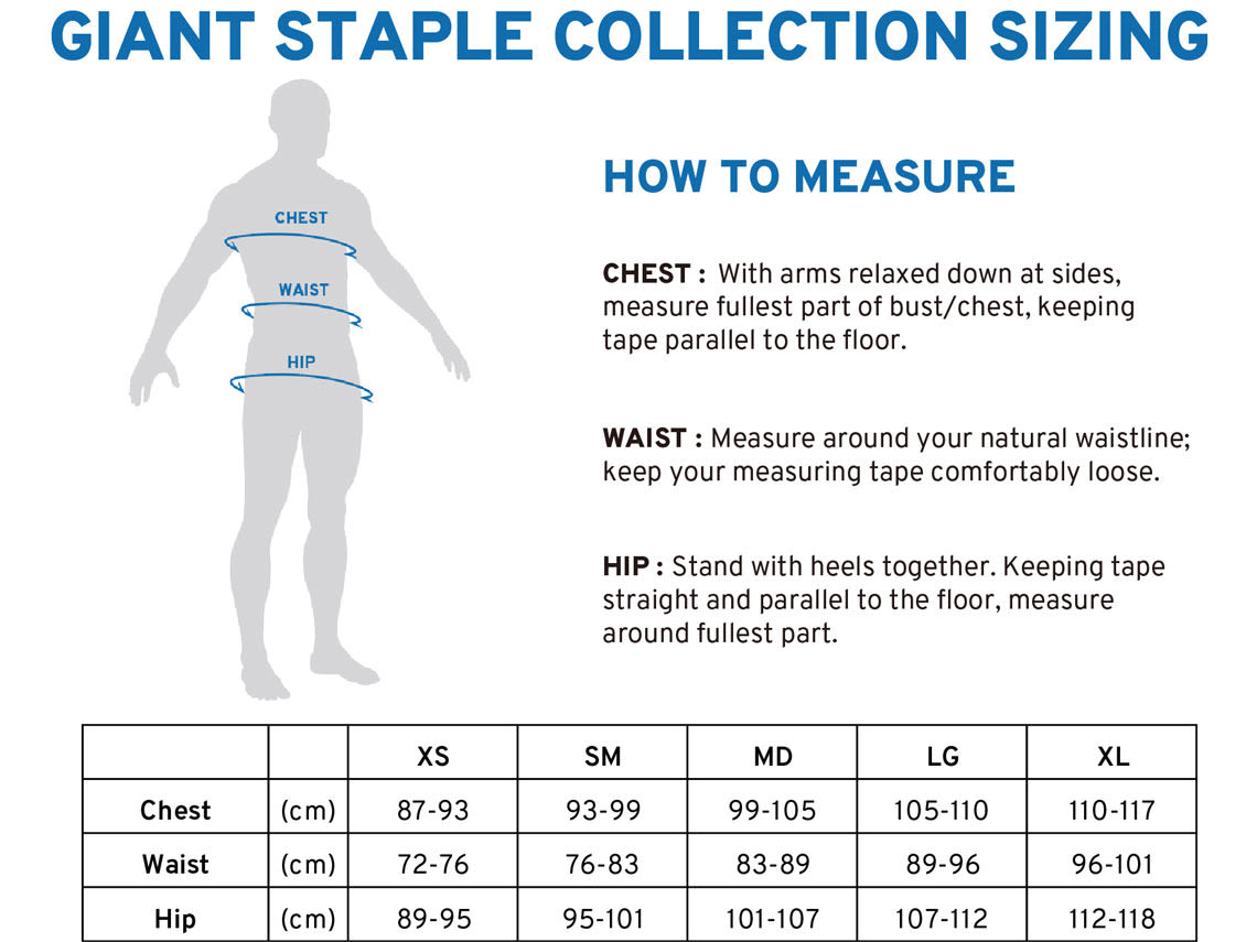 Staple Collection Sizing Chart