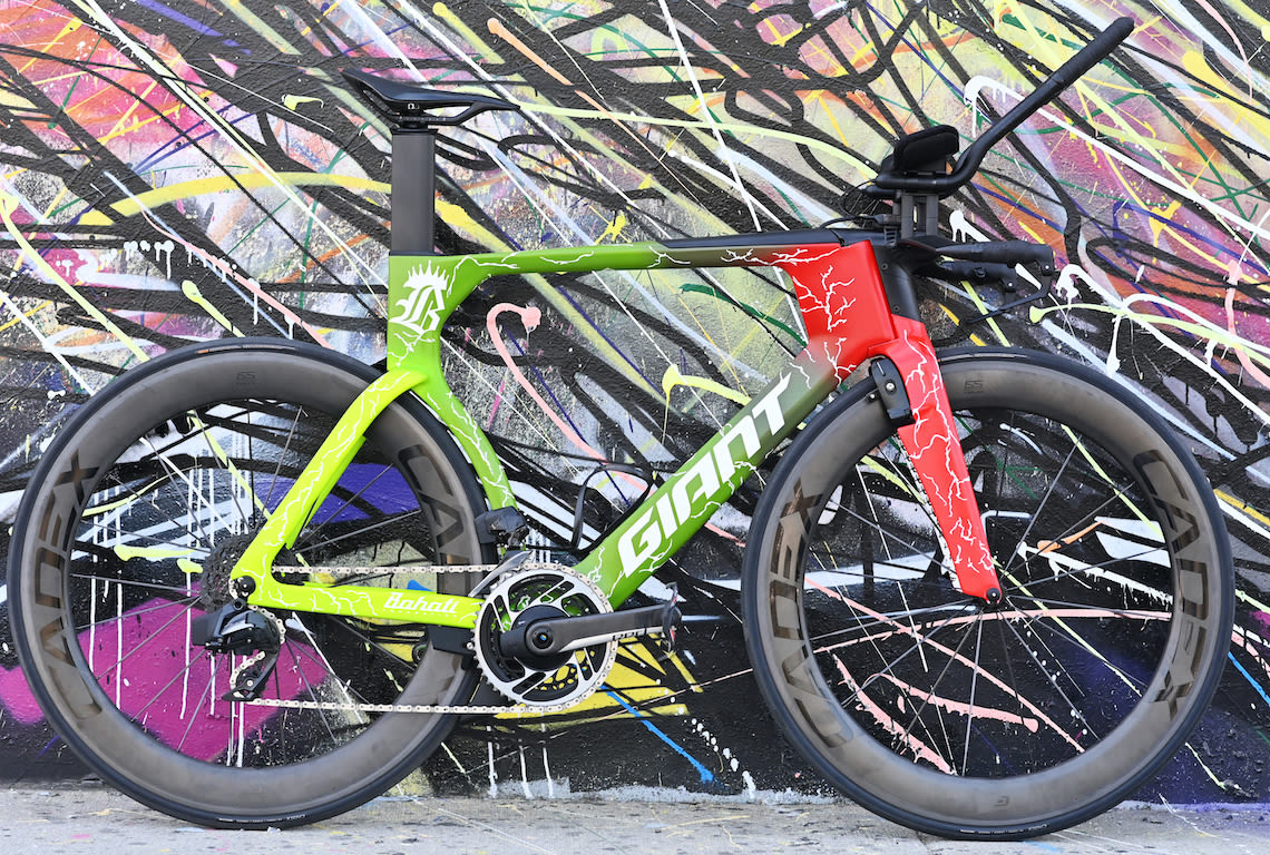 The team's Trinity Advanced Pro bikes were custom painted with colors and an overall design that reflects the Bahati Foundation's mission.