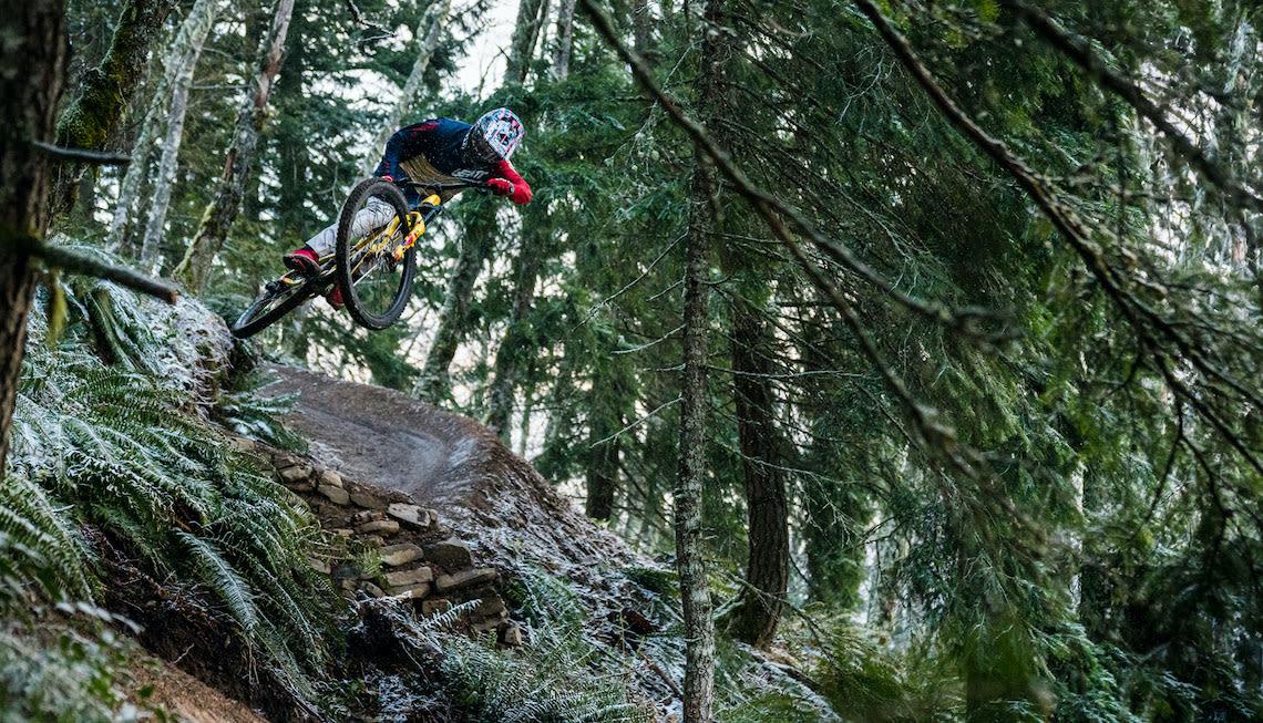Giant freeride athlete Reece Wallace mountain biking in British Columbia