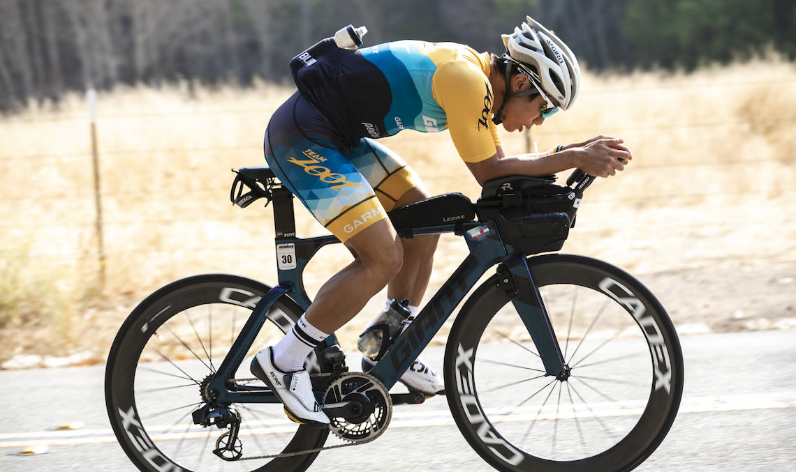 Yu Hsiao training at home in California on his Giant Trinity Advanced Pro bike
