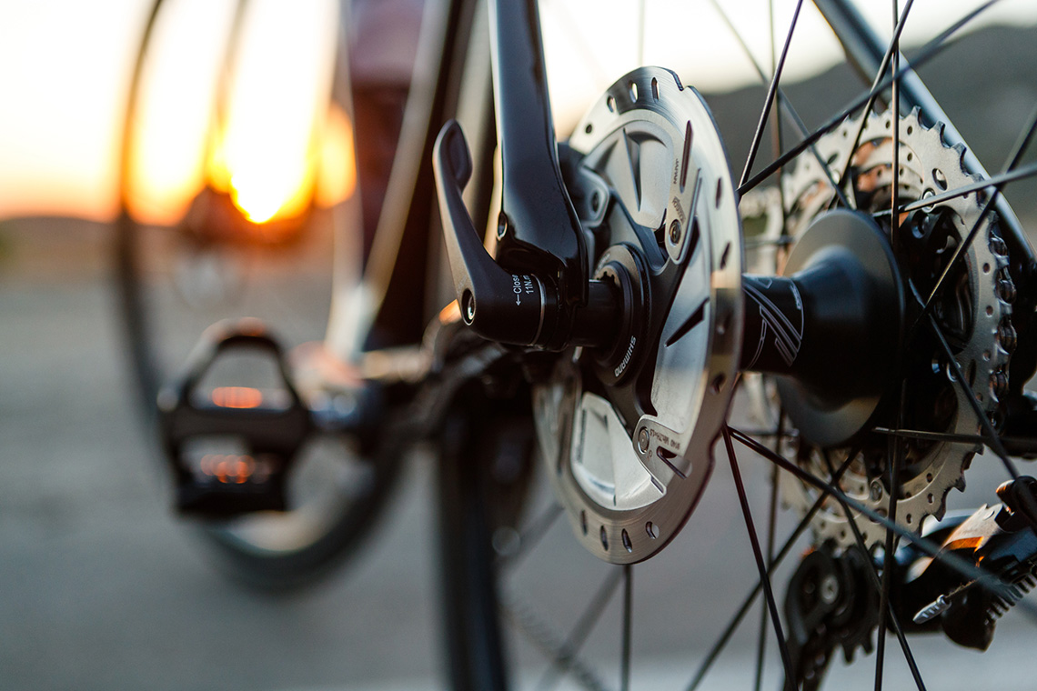 close up of disc brakes