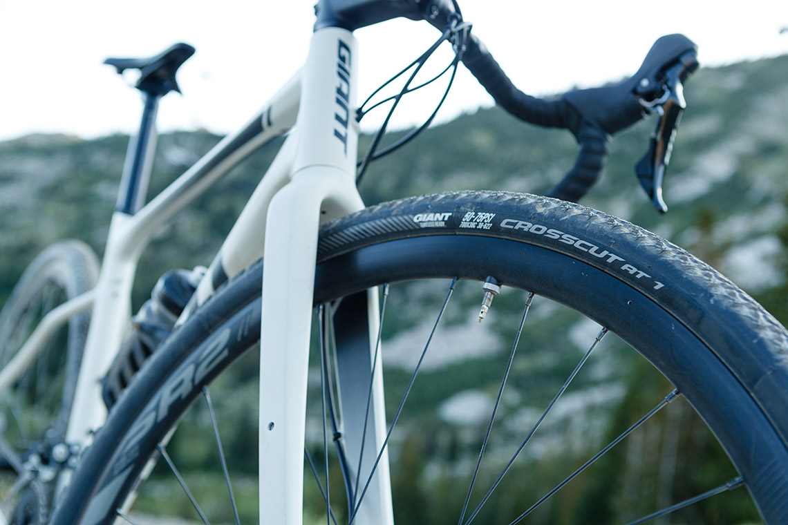 close up of forks of a Giant gravel bike