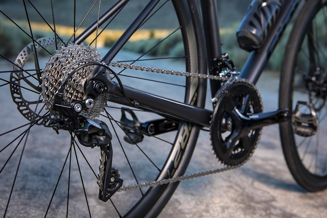 close up of bike components